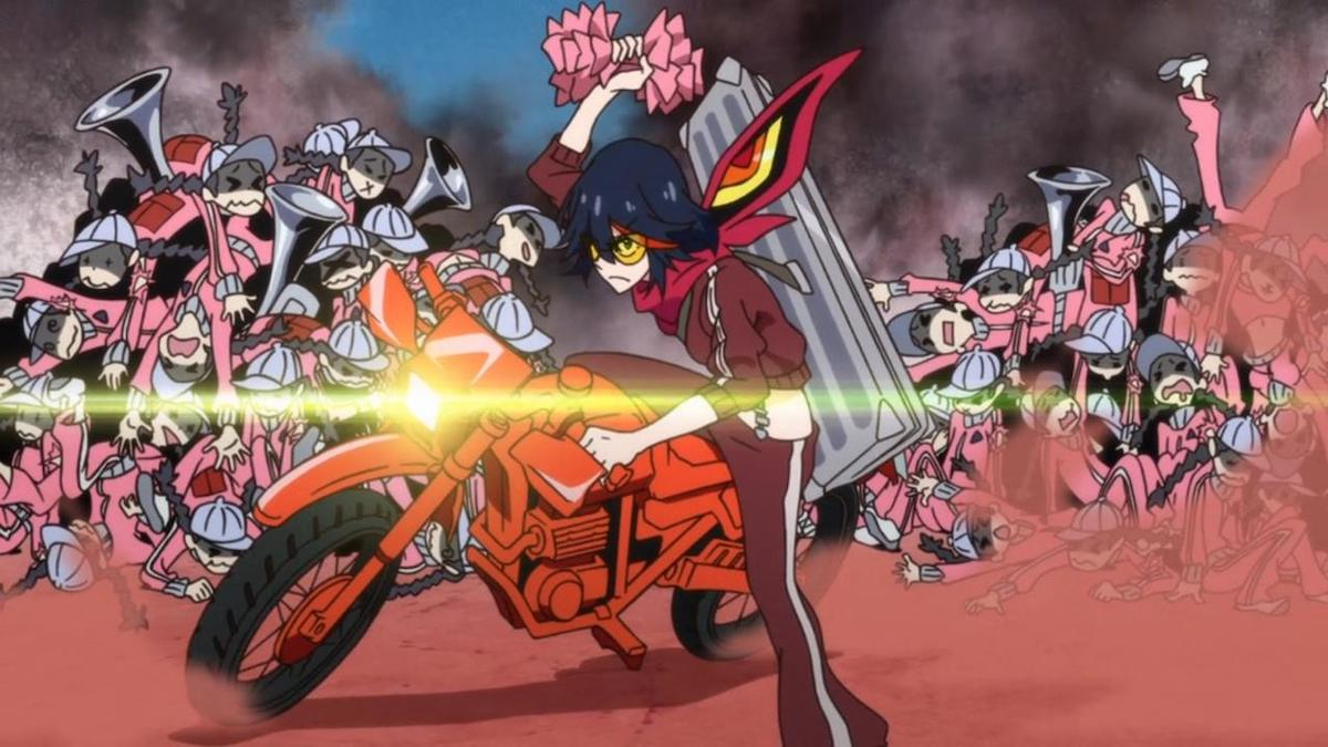 Ryuko from Kill la Kill on a motorcycle, wearing a tracksuit. Bodies of her enemies are piled up behind her.