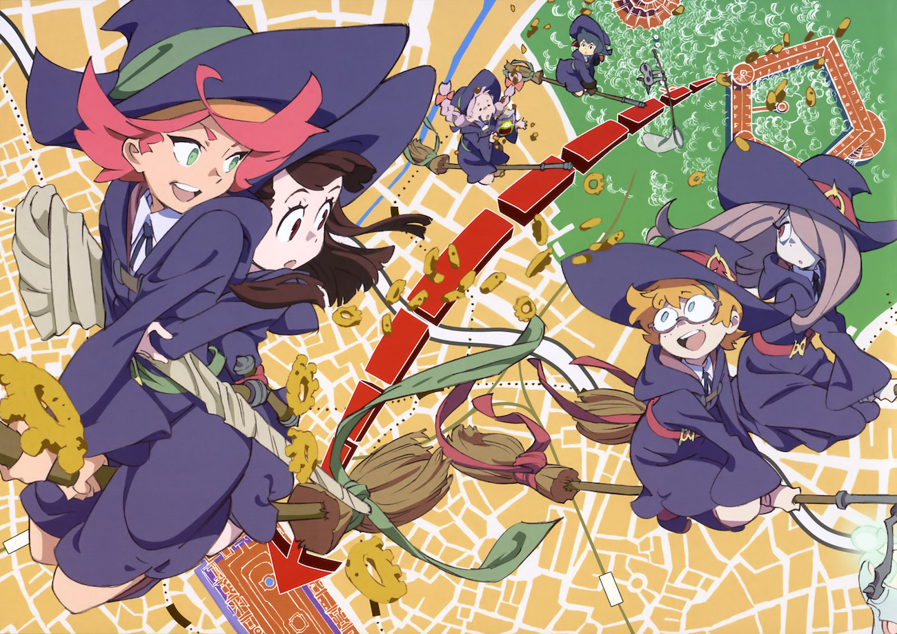 A cartoon drawing of group of young, smiling witches flying toward the camera.
