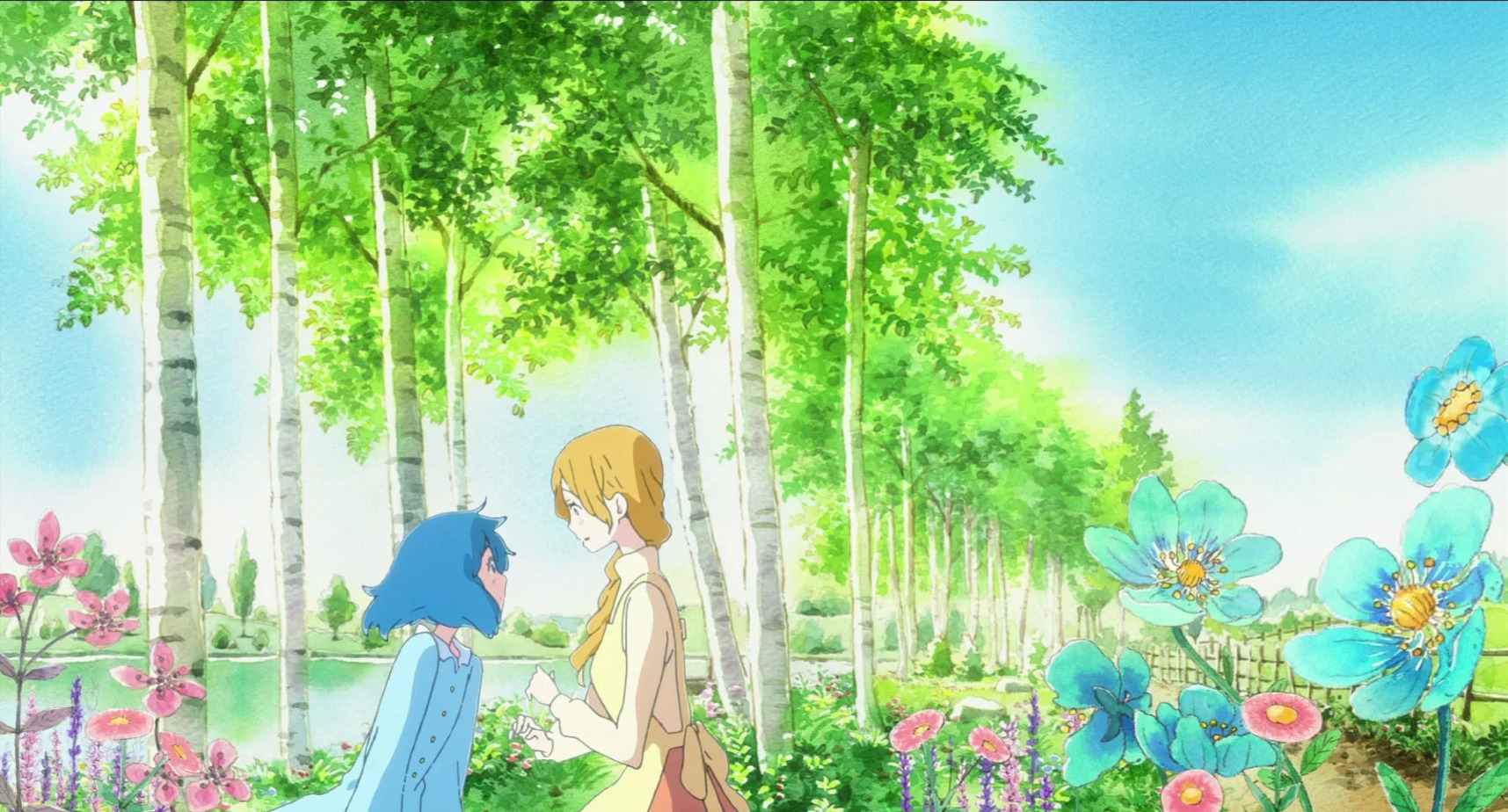 Liz, a blonde girl with a long braid, talking to the blue bird in the form of a blue girl by a row of trees painted with watercolors. Blue flowers bloom in the foreground.