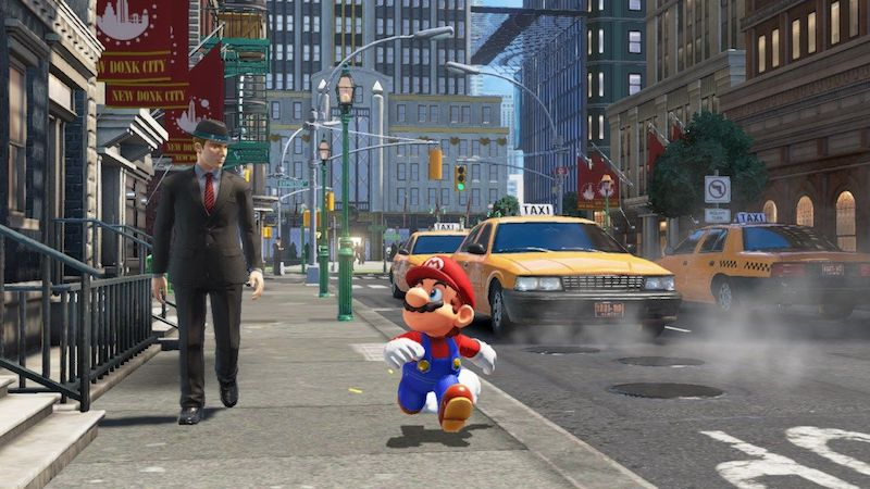 Mario running alongside a normally proportioned human in a city