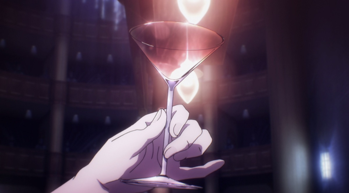 An anime woman's hand delicately raising a martini glass as it shimmers in the light.