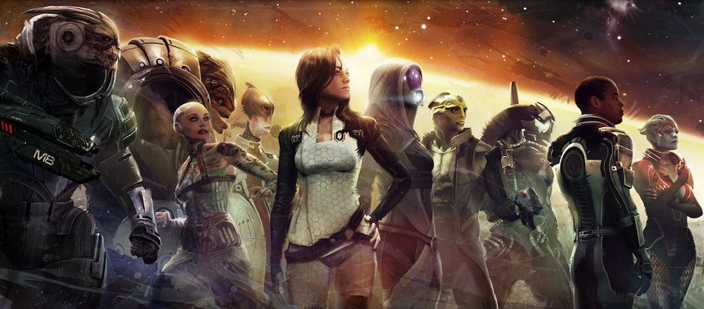 The cast of Mass Effect 3 looking into the distance.