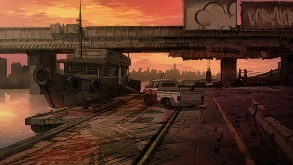 A boat tied up in a river near an overpass with a nearby pick-up truck. The background is drawn in scratchy pencils and is bathed in evening light.