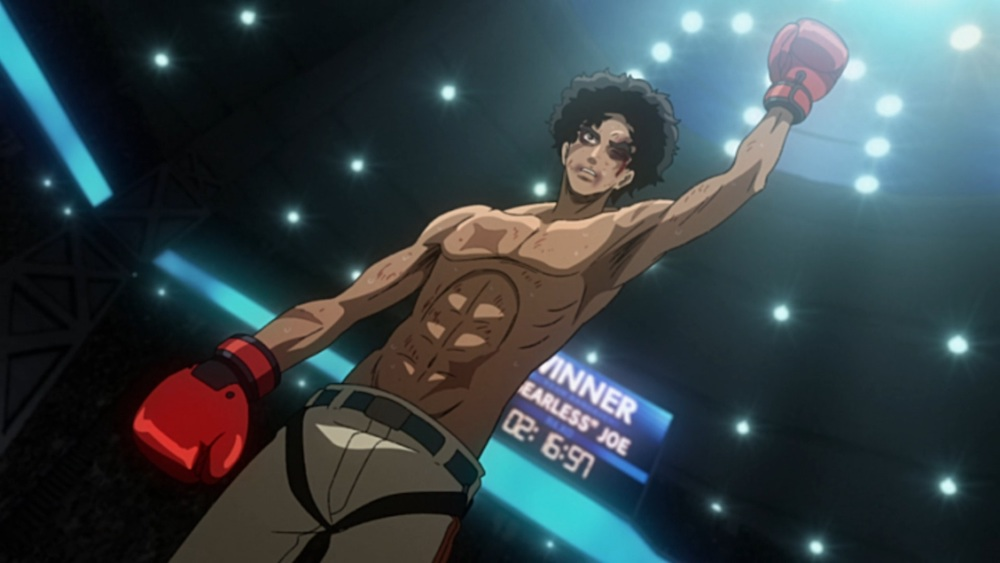 Junk Dog from Megalobox raising his left arm in triumph in a boxing ring