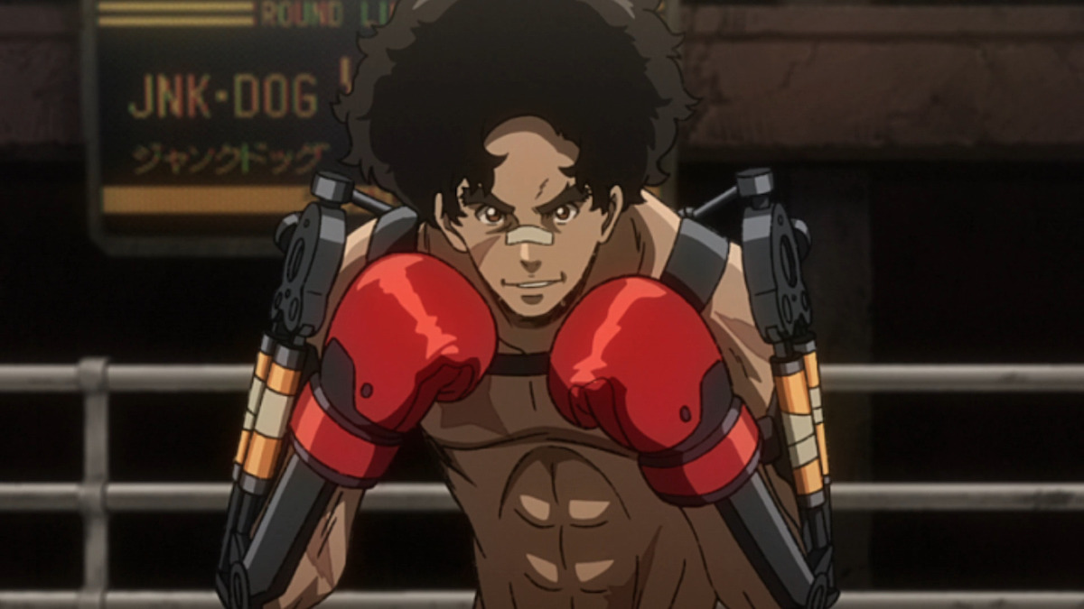 Joe facing off against Yuri while wearing mechanical gear on his arms.