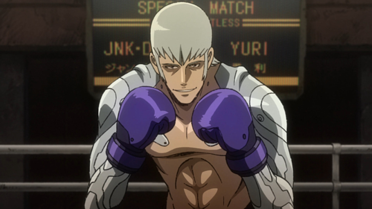Yuri facing off against Joe while wearing high-tech gear grafted to his skin.