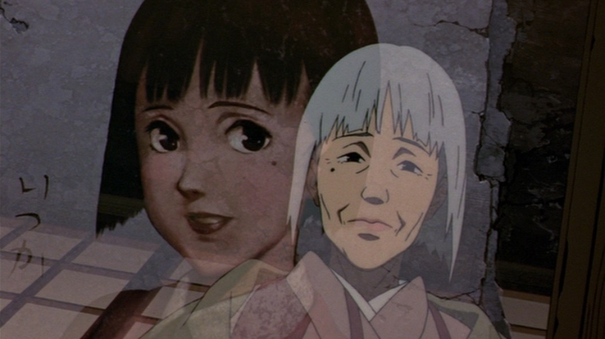 A painting of a young Chiyoko, with the older Chiyoko's face looking back in the reflection in the glass frame.