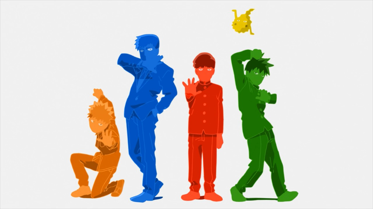 Shot from Mob Psycho 100 II opening, showing the main cast striking poses, each drawn in a different color.