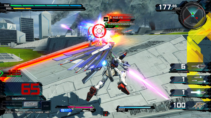 A Gundam flying around in a 3-D environment fighting other mobile suits.