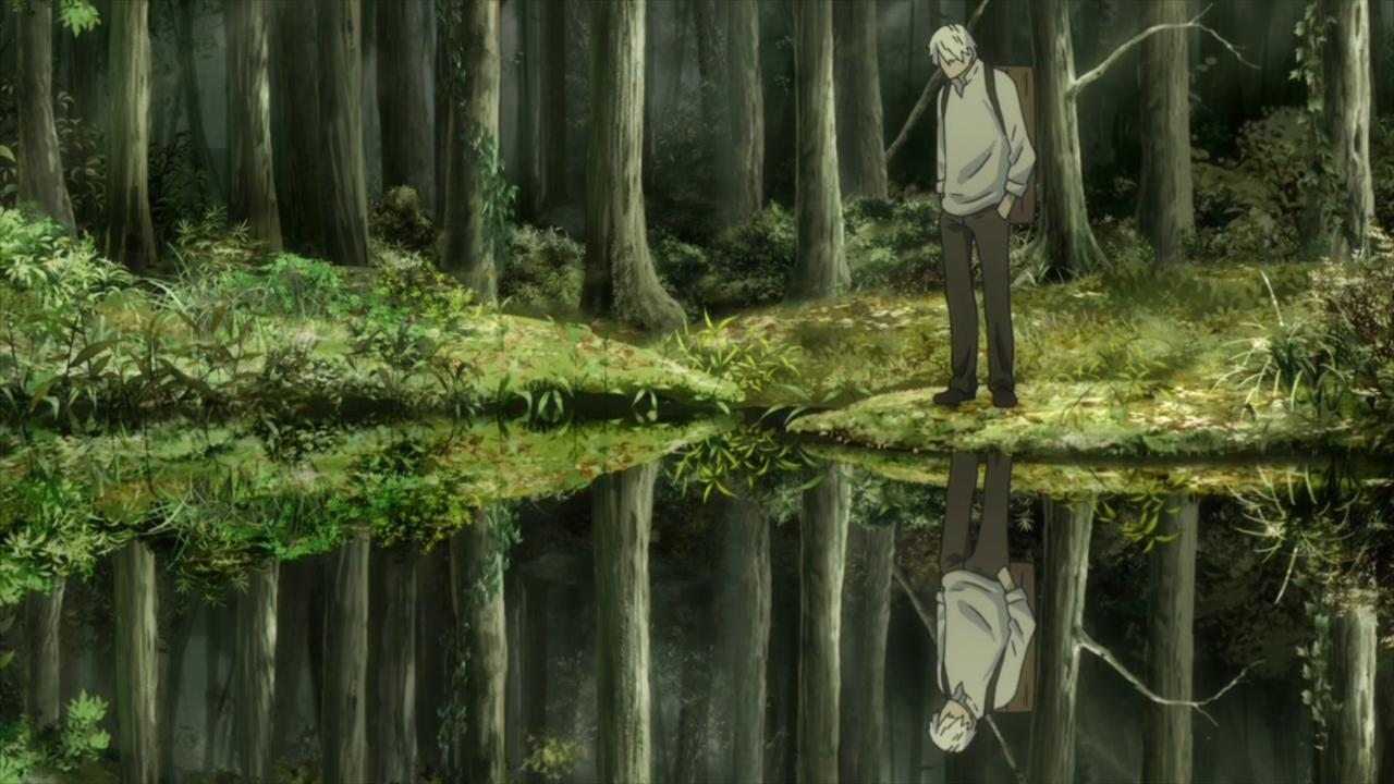 Ginko from Mushishi standing by a pond in a forest and looking into it. He's reflected perfectly in the still water.
