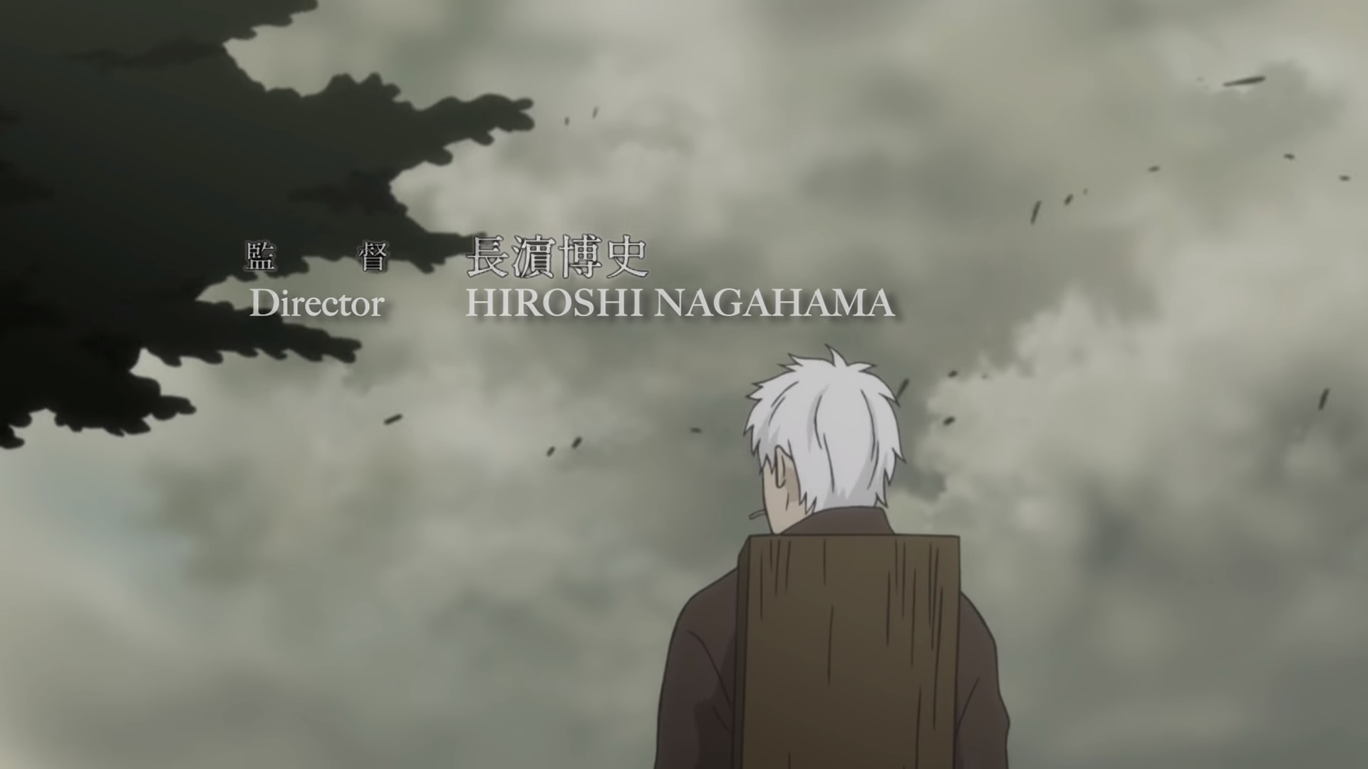 Mushishi credits showing Ginko from the back and the credit for Director: Hiroshi Nagahama.