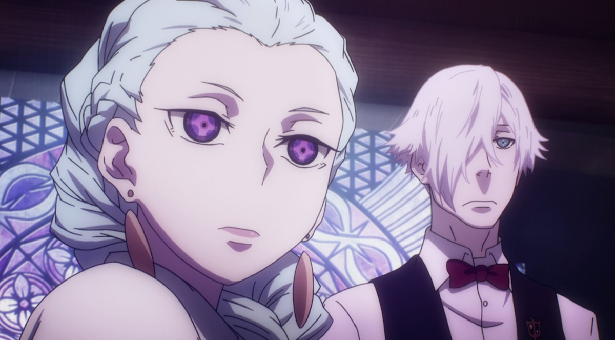 A young anime woman with a white braid and purple eyes (Nona) standing next to a man with white hair and blue eyes (Decim), both staring ahead stoically.