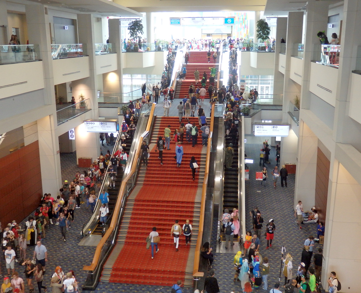 The central stairwell of the convention center.