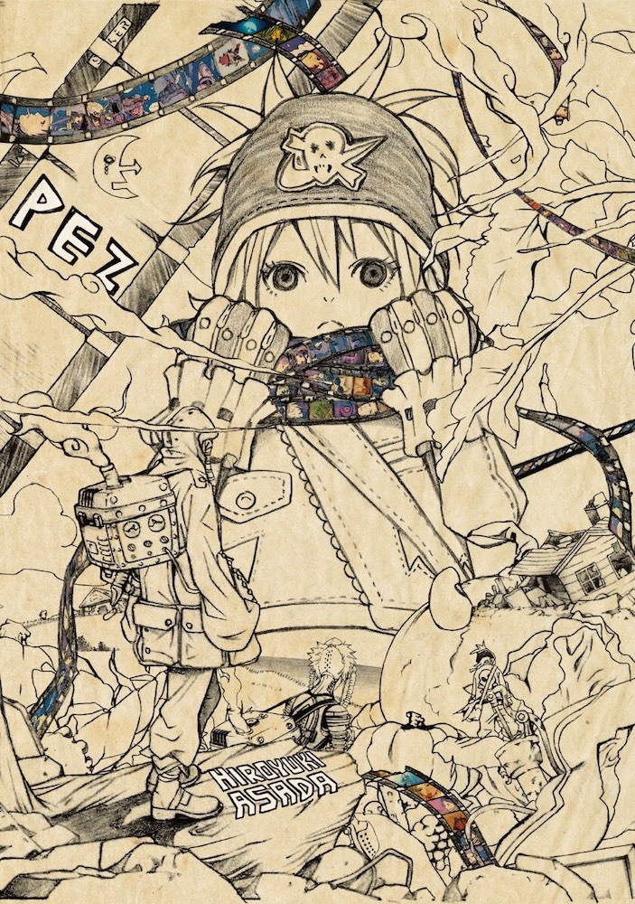 Cover of PEZ by Hiroyuki Asada. A young character wearing a hat, jacket, and gloves tugs on a scarf made from a film strip wrapped around their neck.