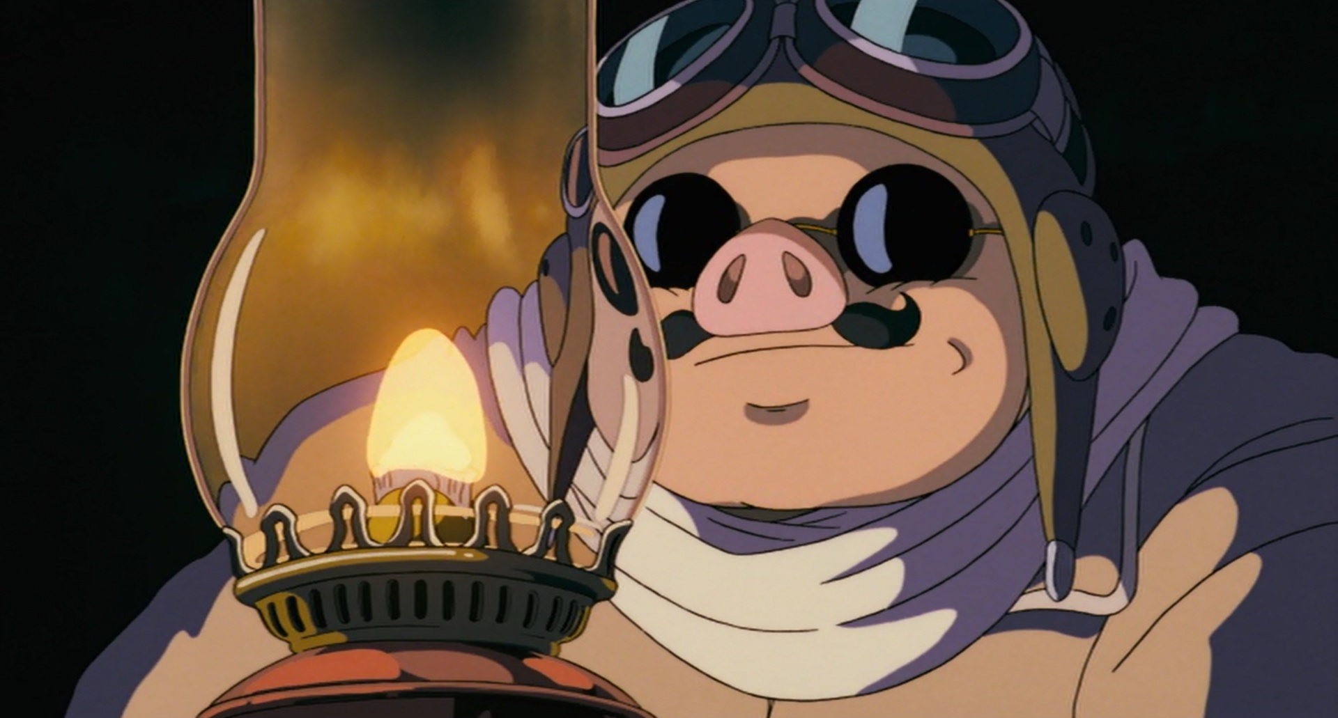 Porco from Porco Rosso staring at an oil lamp.