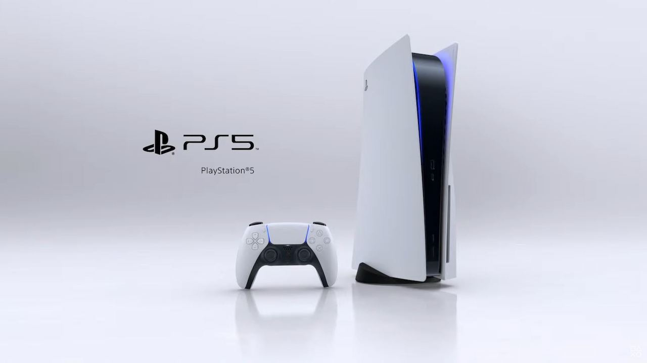 PlayStation 5 with the DualSense controller. They are white, black, and blue.