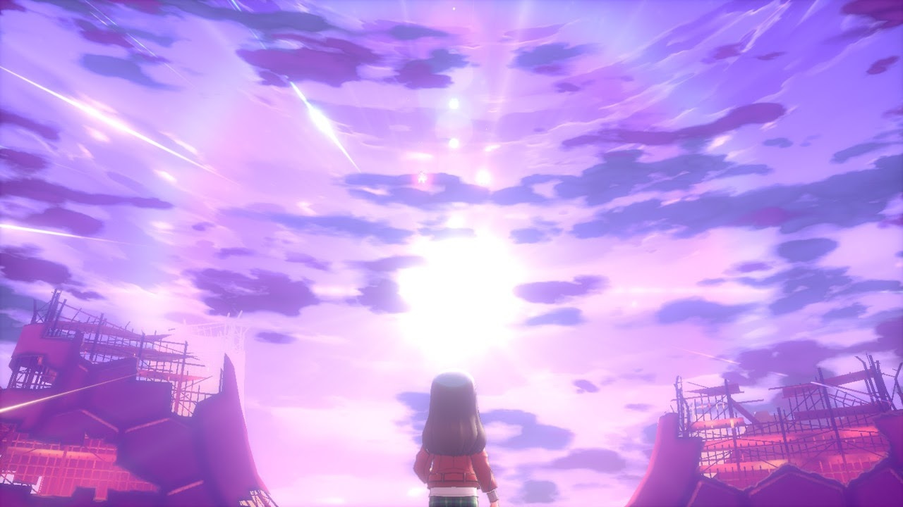 A female player character looking at a light in a purple sky.