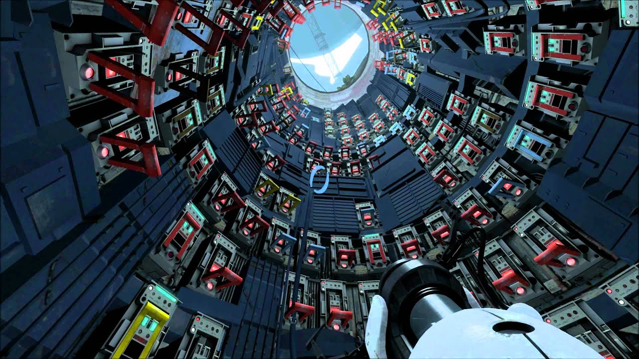 The player pointing their portal gun upwards through a cylindrical room full of switches.