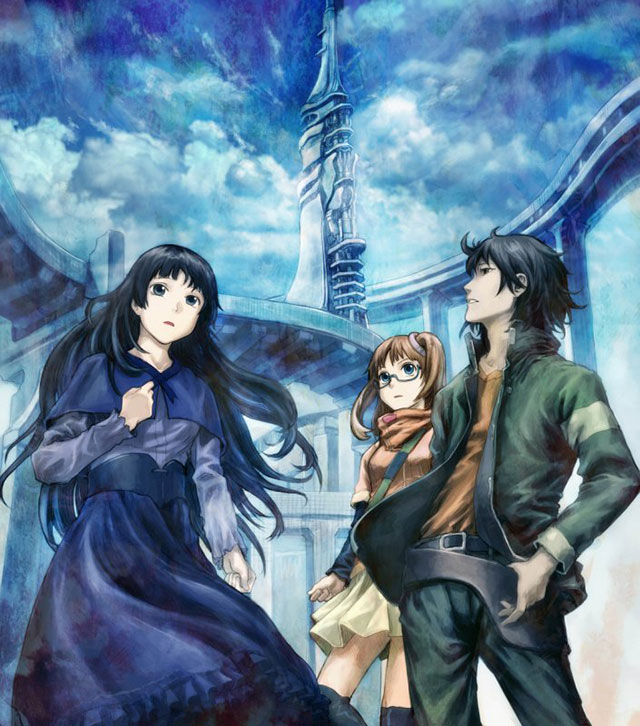 Anime-style art of a man in a jacket, a woman in a long dress, and another woman with glasses in a jacket and skirt standing in the middle of a plaza in front of a tower