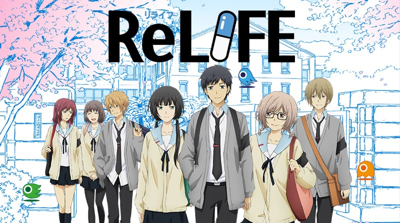 The ReLIFE logo surrounded by the cast of high school characters