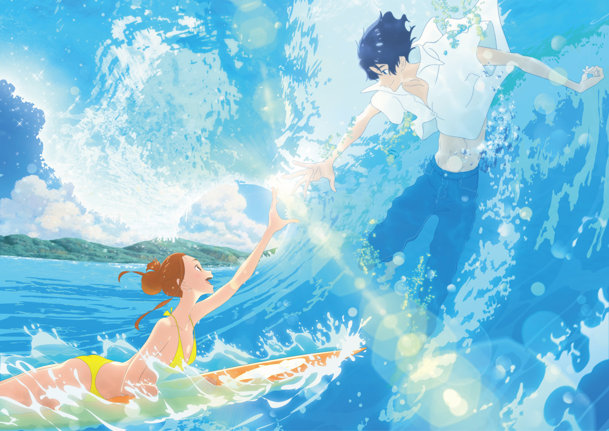 The male and female leads of Ride Your Wave touching hands while riding a wave.