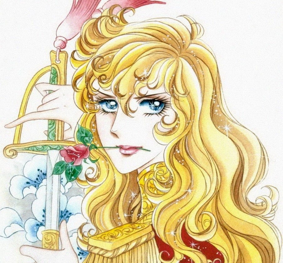 Oscar from Rose of Versailles unsheathing a sword