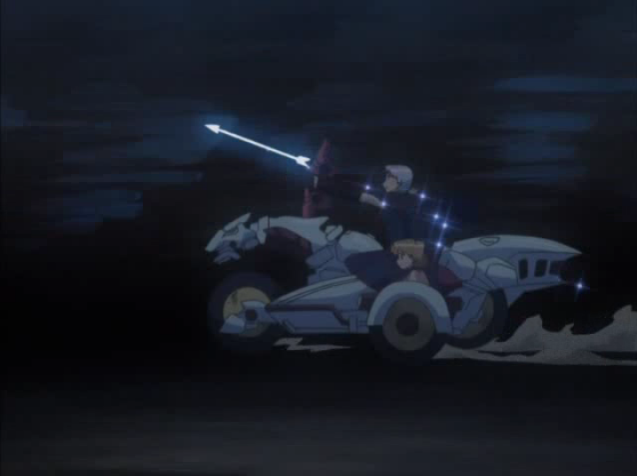 Two characters from Melody of Oblivion riding on a motorcyle with a sidecar. The motorcyle is shaped like a horse.