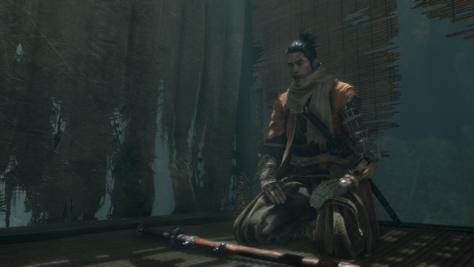 Wolf, the protagonist of Sekiro, resting.