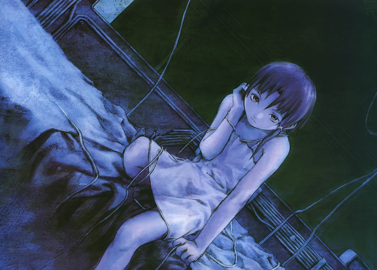 Lain from Serial Experiments Lain sitting on a bed in a white nightgown, draped in wires