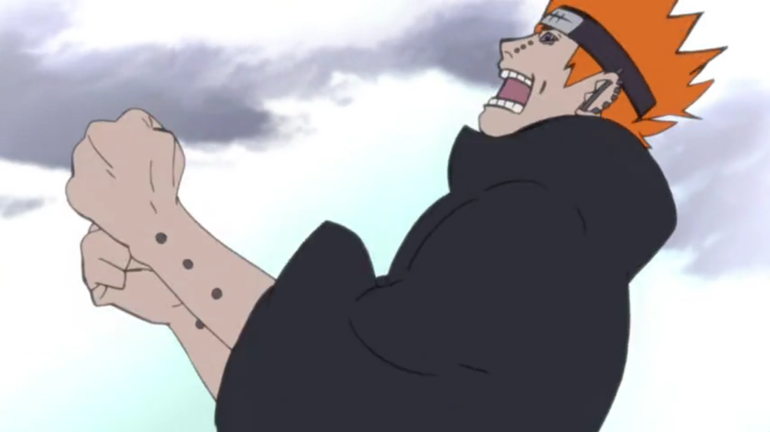 Pain winding up for a punch in an episode of Naruto