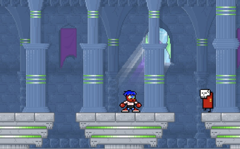 Screenshot from Stinkoman Level 10. The main character is standing in a castle and there's a skull-faced enemy.