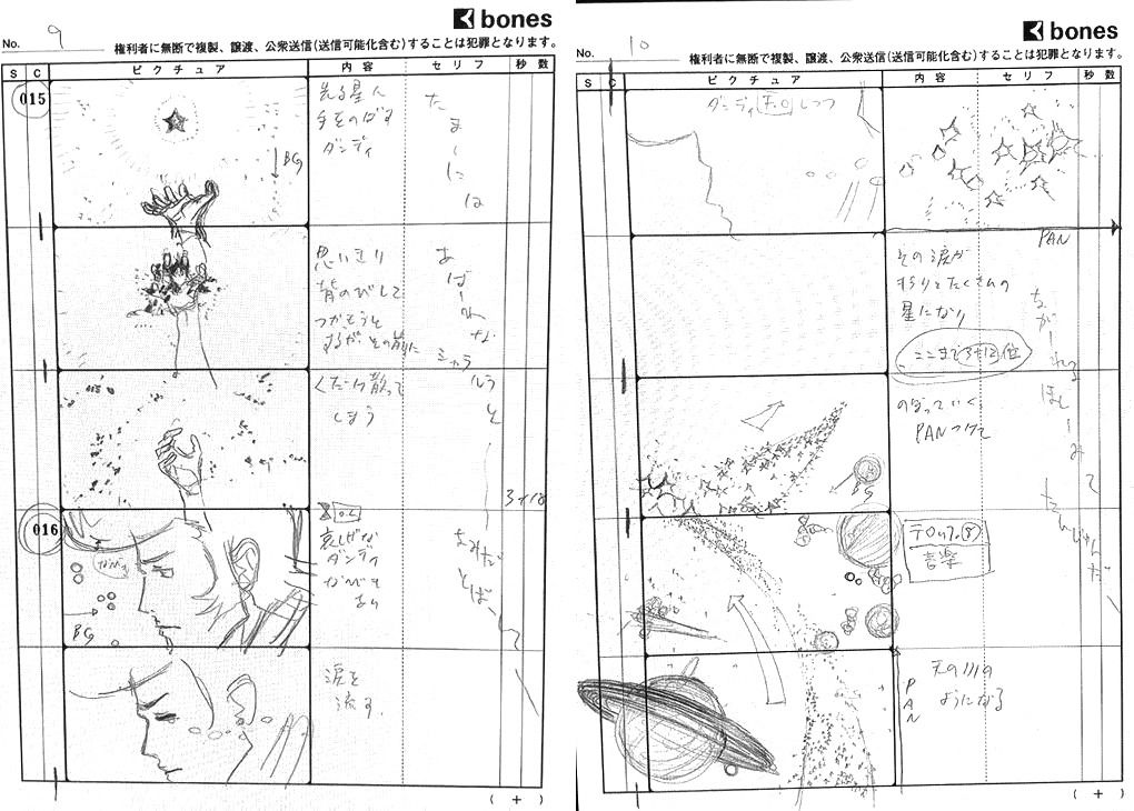 Storyboard for the Space Dandy opening sequence. The drawings are still rough but feature much more refined details and effects.