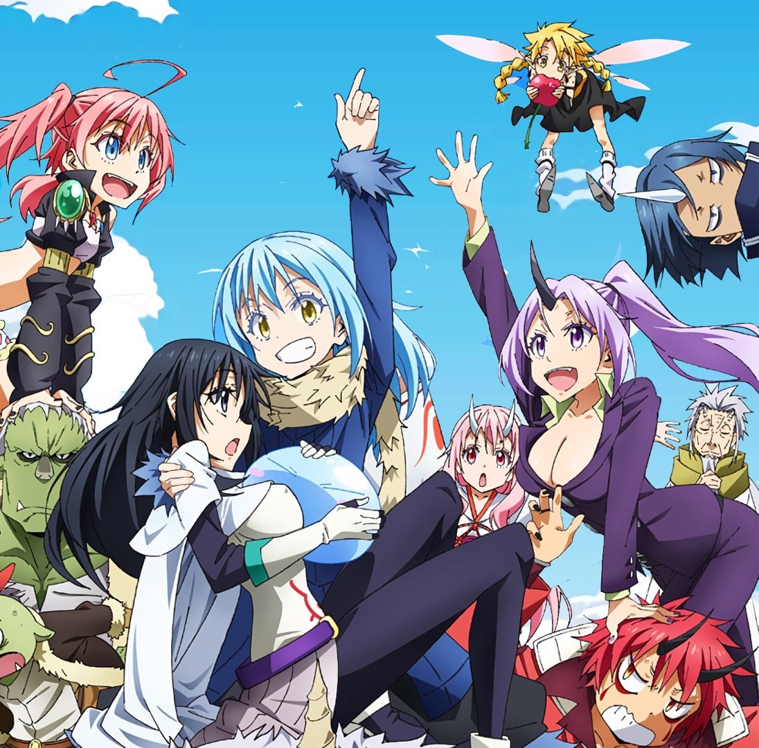 The cast of That Time I Got Reincarnated as a Slime, smiling.