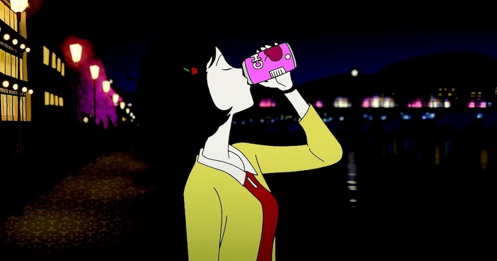 The girl in the red dress from The Night Is Short, Walk on Girl chugging a can of beer near a river