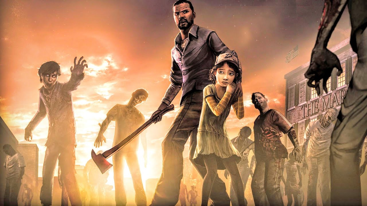Lee protecting Clementine from zombies with an axe in The Walking Dead.