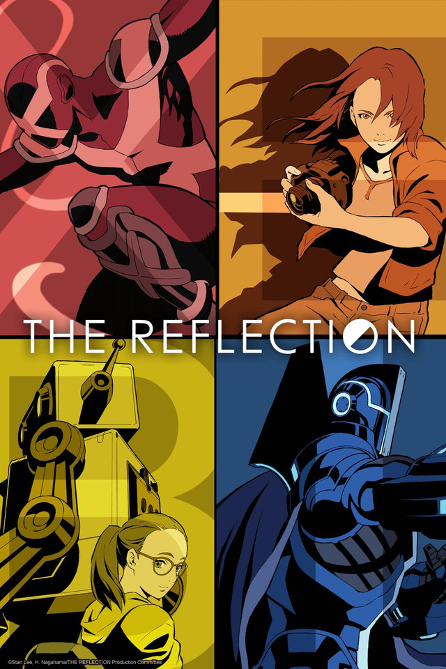 Cover of The Reflection, featuring superheroes and two young women.