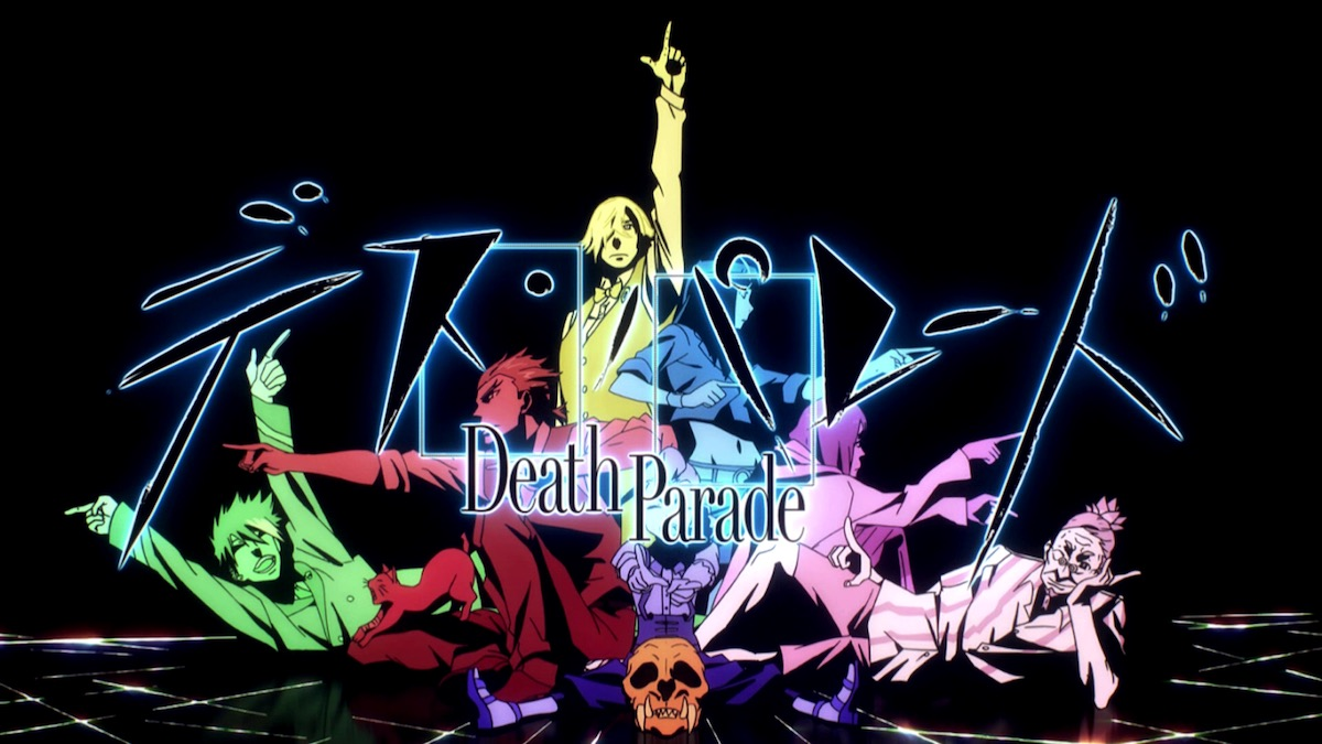 """High contrast art of a the cast of Death Parade posing. Most of them are pointing out from the center of the group. The text """"Death Parade"""" is superimposed."""