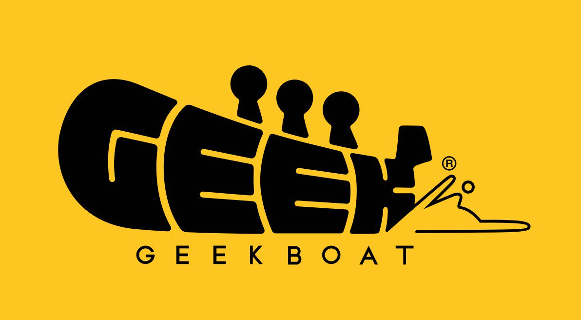 Black Geek Boat logo on yellow background. The word