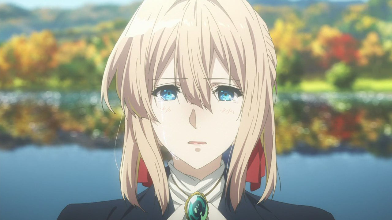 Violet from Violet Evergarden crying.