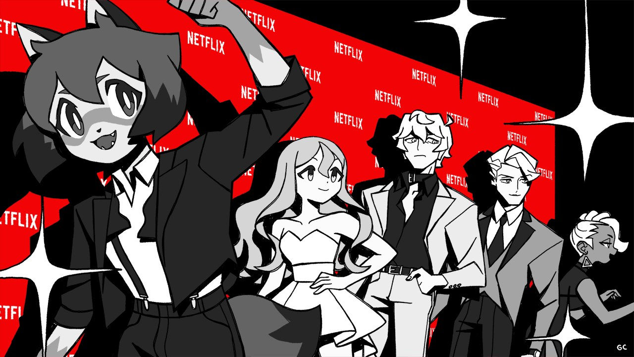 The cast of BNA at a Netflix-branded red carpet.