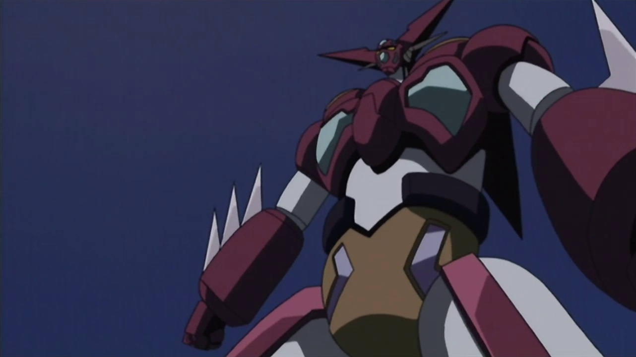 Getter Robo from New Getter Robo. It's a giant red and white robot with spikes on it.